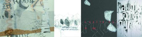 Künstlerbuch mit gezeichneten Wort- und Textbildern